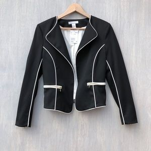 NWT H&M open front blazer w/ piping 10 black